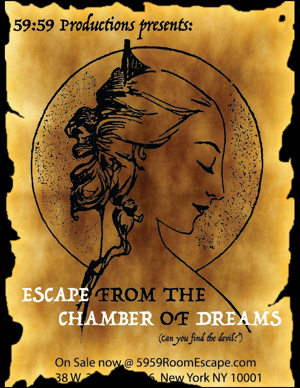 Квест Escape from the Chamber of Dreams, 59:59 Room Escape NYC. Нью-Йорк.